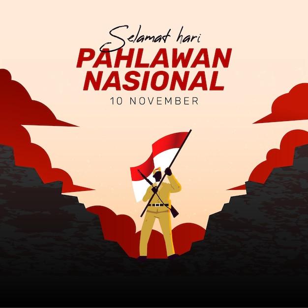Plano de fundo do dia dos heróis de pahlawan com o homem e a bandeira Vetor grátis
