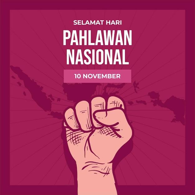 Plano de fundo do dia dos heróis pahlawan vintage com punho Vetor grátis