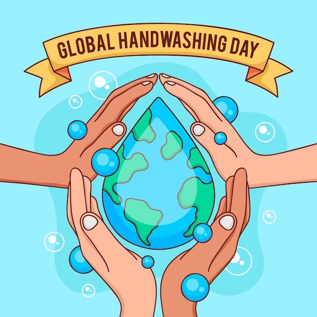 Plano de fundo do dia global de lavagem das mãos Vetor grátis