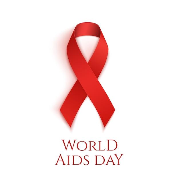 Plano de fundo do dia mundial da aids. fita vermelha isolada no branco. Vetor Premium