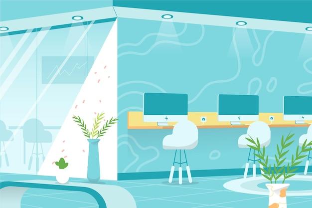 Plano de fundo do escritório para videoconferência Vetor grátis