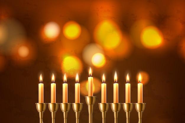 Plano de fundo do feriado judaico de hanukkah com sete velas realistas Vetor Premium