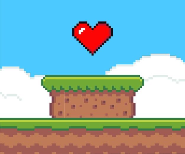Plano de fundo do jogo de pixel art com coração no céu Vetor Premium