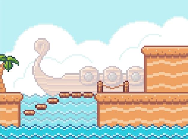 Plano de fundo do jogo de pixel art com ponte e mar. cena do jogo com plataformas de madeira costeira Vetor Premium