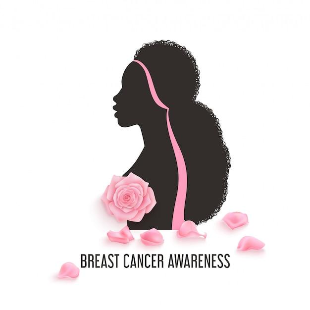 Plano de fundo do mês de conscientização do câncer de mama com rosas rosa fotorrealistas Vetor Premium