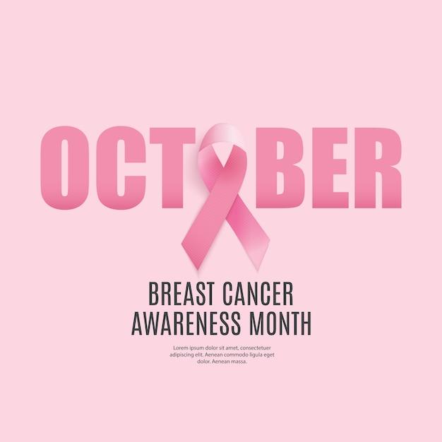 Plano de fundo do mês de conscientização sobre o câncer de mama Vetor Premium