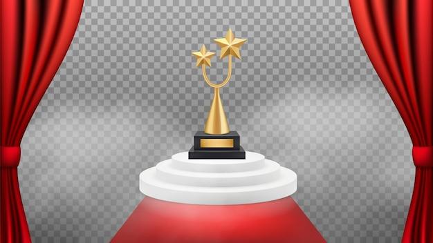 Plano de fundo do prêmio. troféu dourado no pódio branco e tapete vermelho e cortinas. cenário vencedor de prêmio realista. evento de celebridade vip, ilustração de triunfo e sucesso Vetor Premium