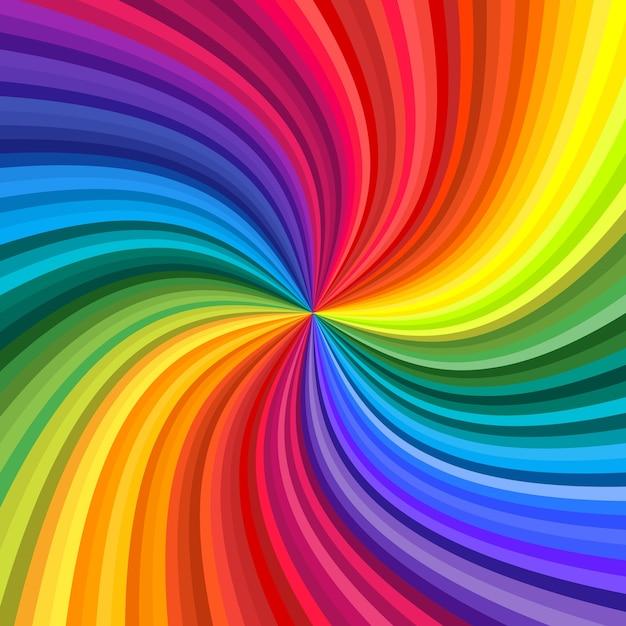 Plano de fundo do redemoinho colorido do arco-íris vívido girando em direção ao centro. ilustração Vetor Premium