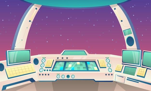Plano de fundo dos desenhos animados do foguete dentro da ilustração Vetor Premium