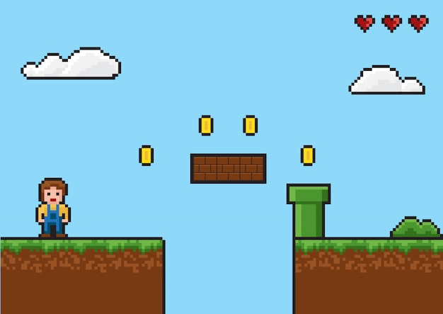 Plano de fundo em pixels. estilo retro, 8 bits, plano de fundo de jogos antigos Vetor Premium