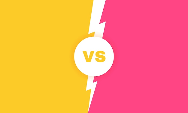 Plano de fundo moderno versus batalha. vs manchete de batalha com um raio. competições entre competidores, lutadores ou equipes. ilustração. Vetor Premium