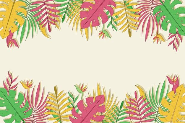 Plano de fundo multicolorido folhas tropicais Vetor grátis