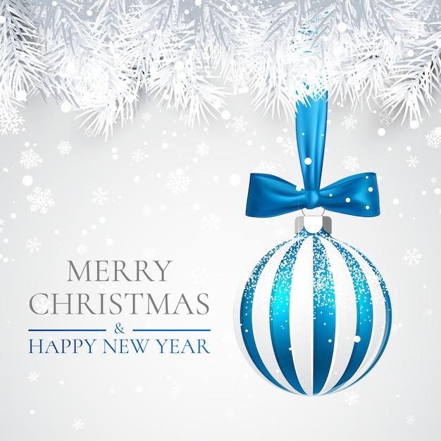 Plano de fundo natal e ano novo com bola de natal, galho de pinheiro e neve para o natal Vetor Premium