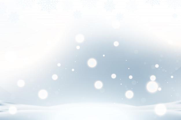 Plano de fundo natal e ano novo com flocos de neve e efeitos de luz sobre um fundo azul. Vetor Premium