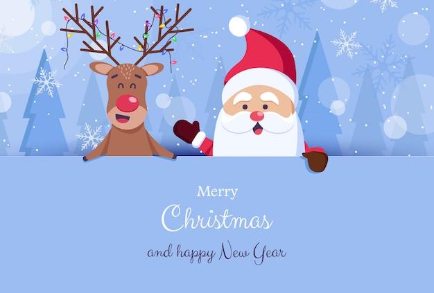 Plano de fundo natal e ano novo. papai noel, barba, chapéus. ilustração Vetor Premium