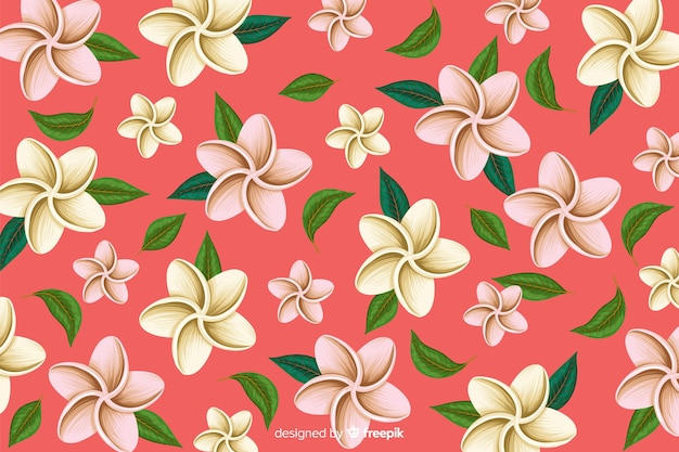 Plano de fundo padrão de flor tropical Vetor grátis