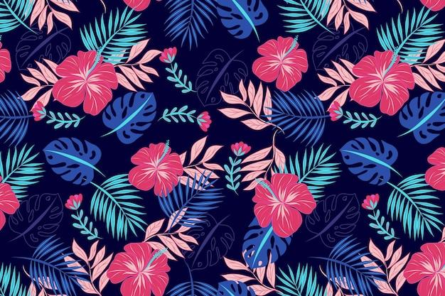 Plano de fundo padrão floral bonito Vetor grátis