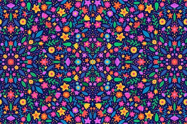 Plano de fundo padrão floral colorido Vetor grátis