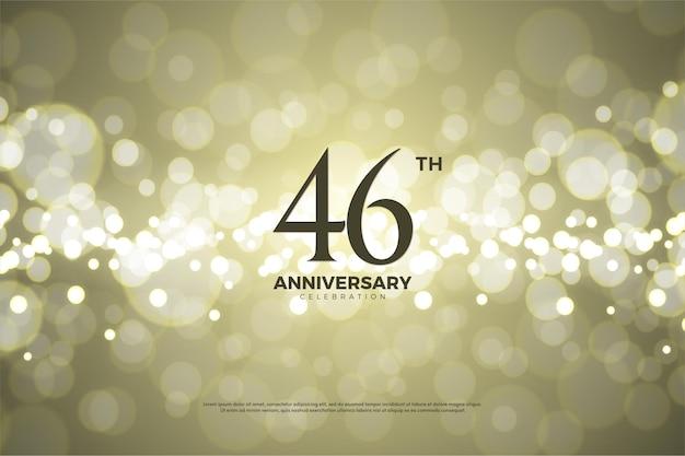 Plano de fundo para a celebração do 46º aniversário com folha de ouro Vetor Premium