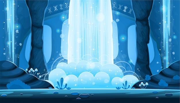 Plano de fundo para jogos e aplicativos móveis. caverna da noite dos desenhos animados com uma paisagem perfeita de grande cachoeira, fundo com camadas separadas. Vetor Premium