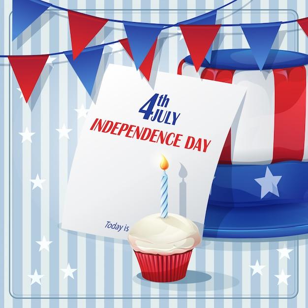 Plano de fundo para o dia da independência em 4 de julho com bandeiras e bonés. Vetor Premium