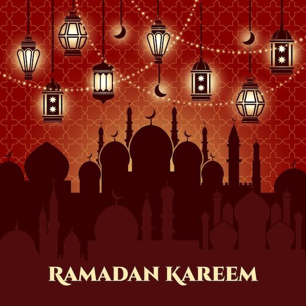 Plano de fundo ramadan kareem com mesquitas e minaretes Vetor grátis