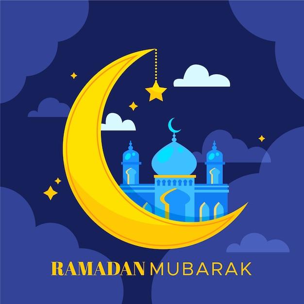 Plano de fundo ramadan mubarak Vetor Premium