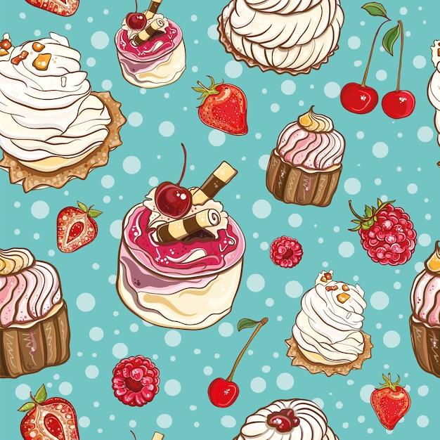 Plano de fundo sem emenda com bolos e frutas. padronizar. Vetor Premium