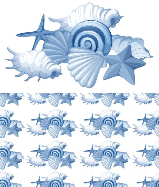 Plano de fundo sem emenda com conchas do mar em azul Vetor grátis