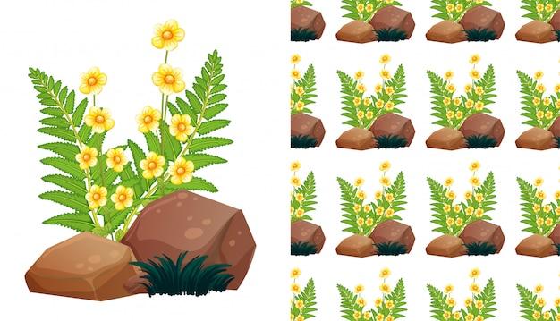 Plano de fundo sem emenda com lindas flores e pedras Vetor grátis