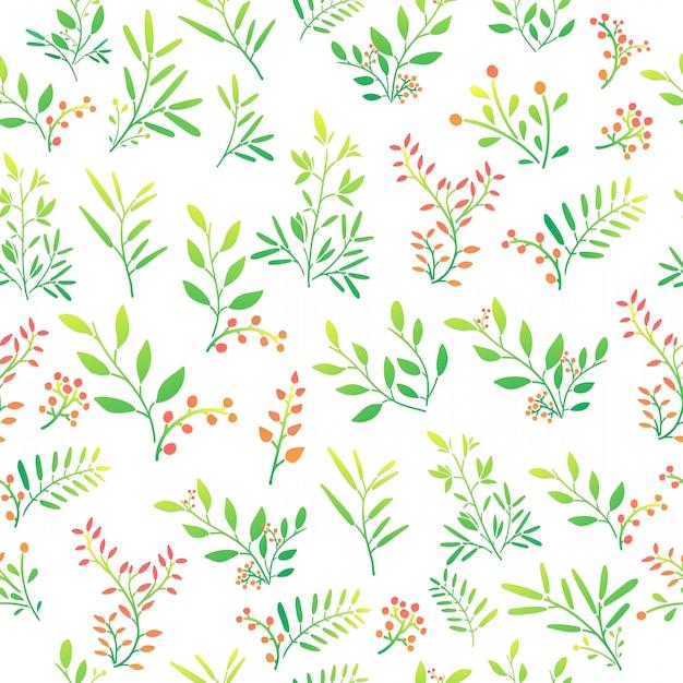 Plano de fundo sem emenda com padrão floral de galhos, frutos e folhas. vetor Vetor Premium