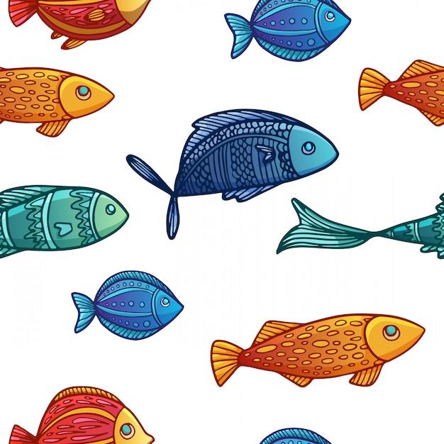 Plano de fundo sem emenda com um padrão de peixe colorido dos desenhos animados. Vetor Premium