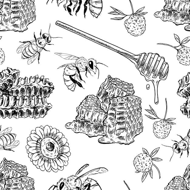 Plano de fundo sem emenda de favos de mel, abelhas, flores. ilustração desenhada à mão Vetor Premium