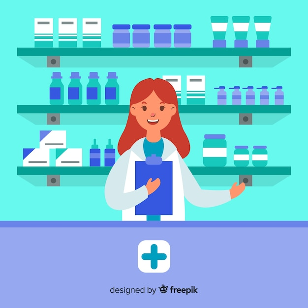 Plano de fundo simples farmacêutico sorridente Vetor grátis