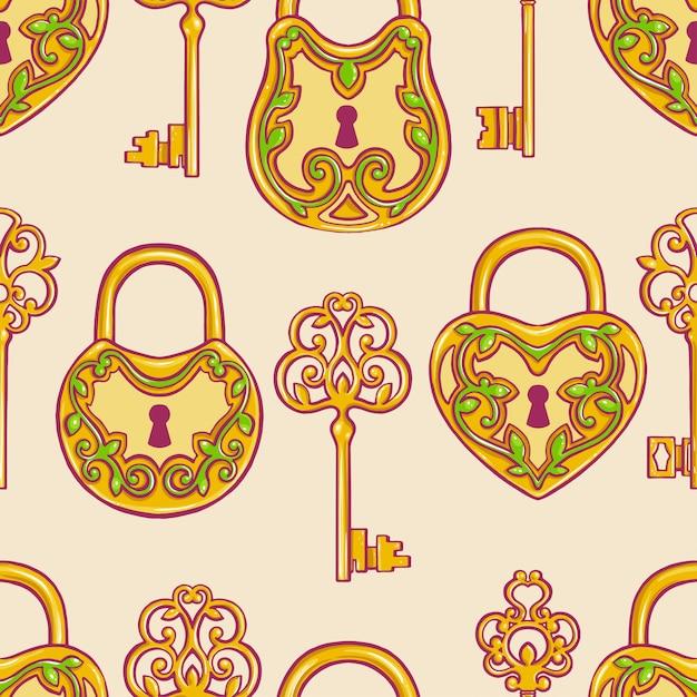 Plano de fundo transparente com chaves douradas retrô e fechaduras com um padrão floral Vetor Premium