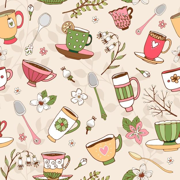 Plano de fundo transparente de delicadas xícaras de chá desenhadas à mão Vetor grátis