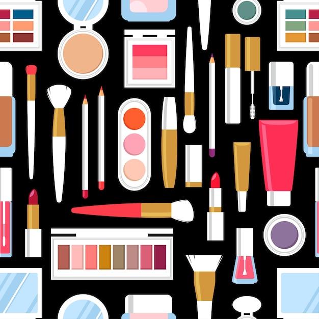 Plano de fundo transparente de diferentes produtos cosméticos. esmalte para unhas, rímel, batom, sombras, pincel, pó, brilho labial. Vetor Premium