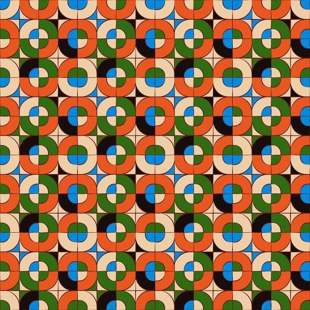 Plano de fundo transparente, padrão de geometria de mosaico cruzado quadrado redondo. Vetor Premium