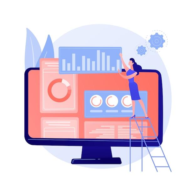 Plano de marketing digital. negócio smm, interface analítica online, publicidade gráfica. analista estudando dados estatísticos de avaliação de marcas. Vetor grátis