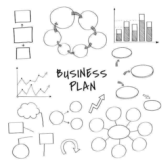 Plano de negócios conjunto com vetores de gráfico e gráfico Vetor grátis