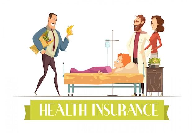Plano de pagamento de polícia de seguro de saúde cobre tratamento de criança e ilustração dos desenhos animados de alimentos com feliz Vetor grátis