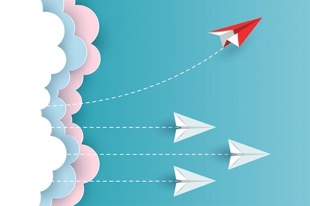 Plano de papel que muda o sentido da nuvem até o céu. nova ideia. conceitos de negócios diferentes. vetor de desenhos animados de ilustração Vetor Premium