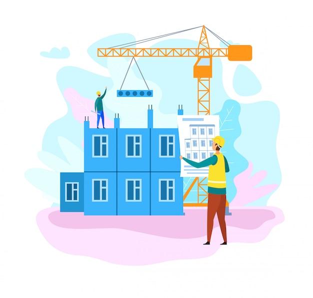 Plano de processo de construção de casa Vetor Premium