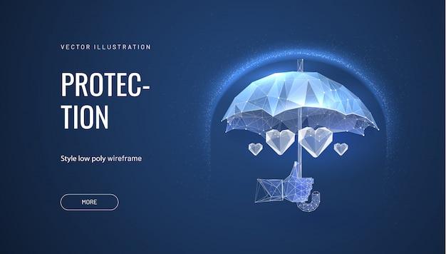 Plano de saúde. guarda-chuva poligonal, protegendo o coração. doutor, segurando um guarda-chuva, pessoa que protege o coração, simbolizando segurança ou economia de vida Vetor Premium