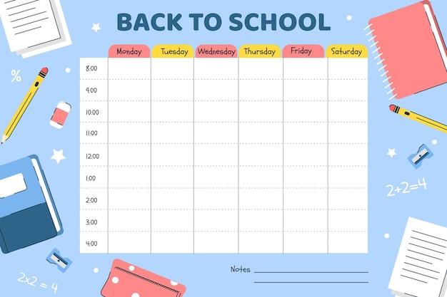 Plano de volta ao horário escolar Vetor Premium