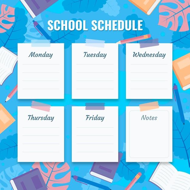 Plano de volta ao horário escolar Vetor grátis