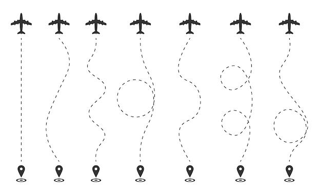 Plano de vôo do avião em um fundo branco. a rota da aeronave em linhas tracejadas, gps. ponto de partida do voo, percurso turístico. traços de um viajante em linhas tracejadas. ilustração, . Vetor Premium