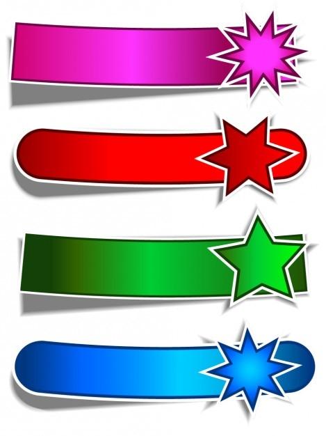 Plano estrelas banners adesivos set Vetor grátis