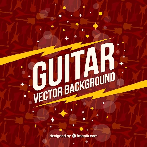 Plano, fundo, guitarra, silhuetas Vetor grátis