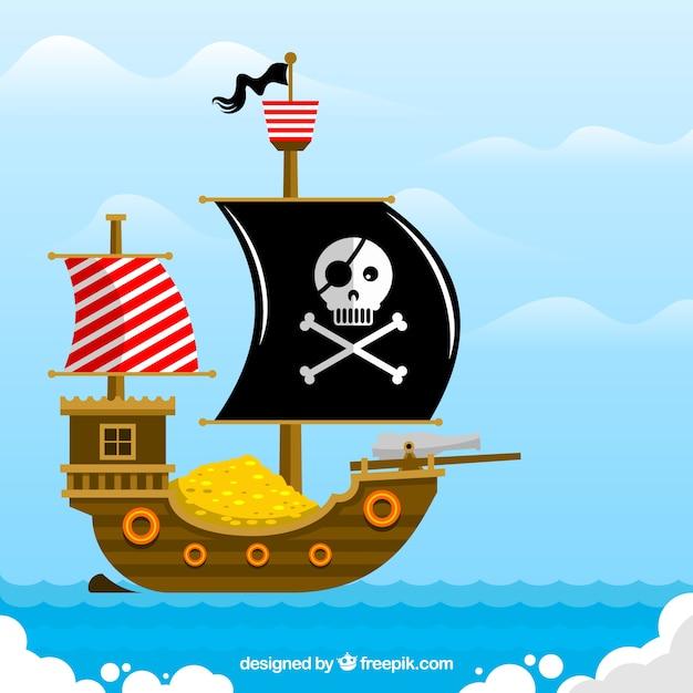 Plano, Fundo, Pirata, Navio, Cheio, Ouro, Moedas